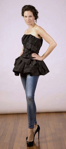 Silk taffeta top, jeans (models own).