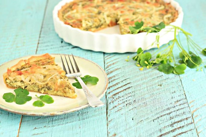 Wood Sorrel and Sweet Onion Tart