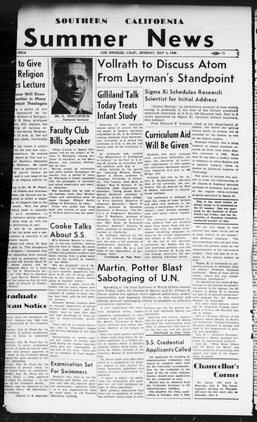 Summer News, Vol. 1, No. 4, July 01, 1946