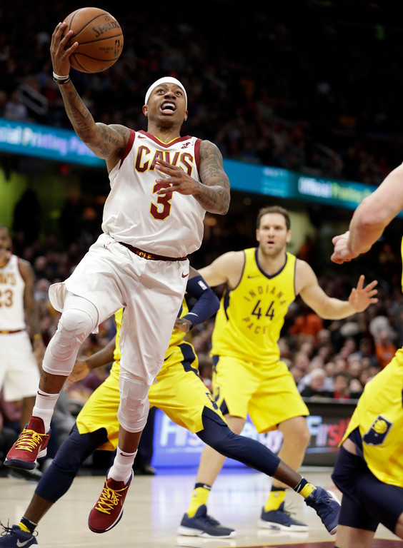 . Cleveland Cavaliers\' Isaiah Thomas drives to the basket against the Indiana Pacers in the first half of an NBA basketball game, Friday, Jan. 26, 2018, in Cleveland. (AP Photo/Tony Dejak)