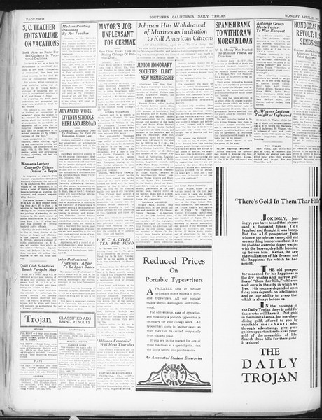 Daily Trojan, Vol. 22, No. 126, April 20, 1931