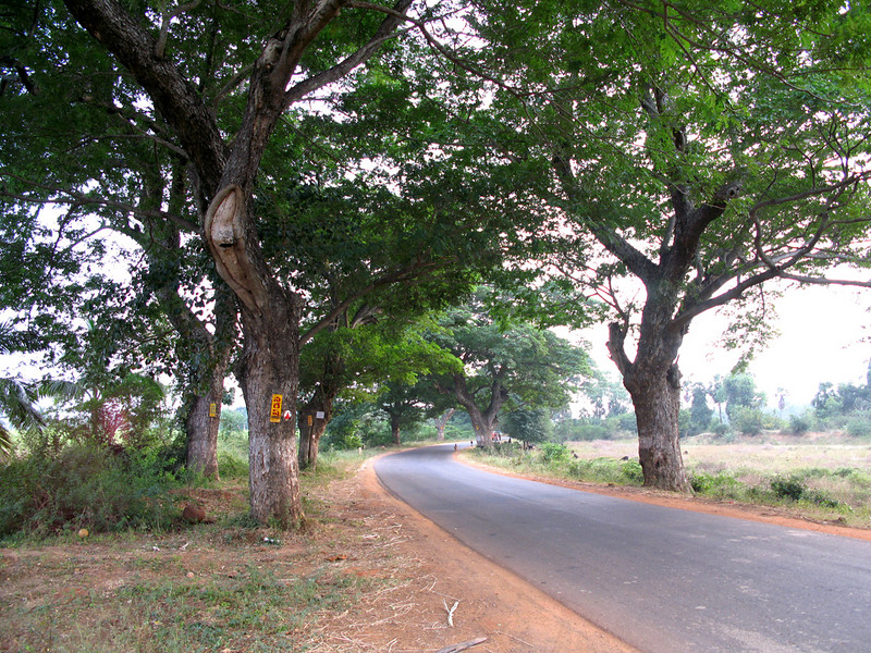 It is about 7 kilometers from the edge of Eluru, to the left,