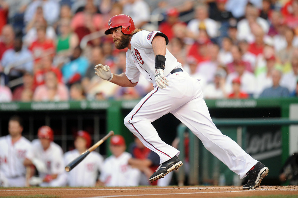 . Jayson Werth #28 of the Washington Nationals doubles in the first inning to score Anthony Rendon (not pictured) during a baseball against the Colorado Rockies on July 1, 2014 at Nationals Park in Washington, DC.  (Photo by Mitchell Layton/Getty Images)