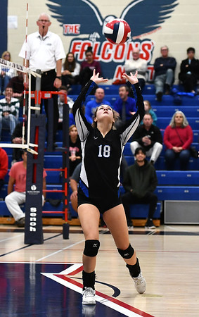 11/7/2019 Mike Orazzi | StaffrBristol Eastern's Leah Chipman (18) during the CCC girls volleyball tournament at Avon High School on Thursday.r