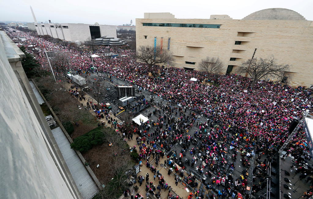 . A crowd fills Independence Avenue near the stage during the Women\'s March on Washington, Saturday, Jan. 21, 2017 in Washington. (AP Photo/Alex Brandon)