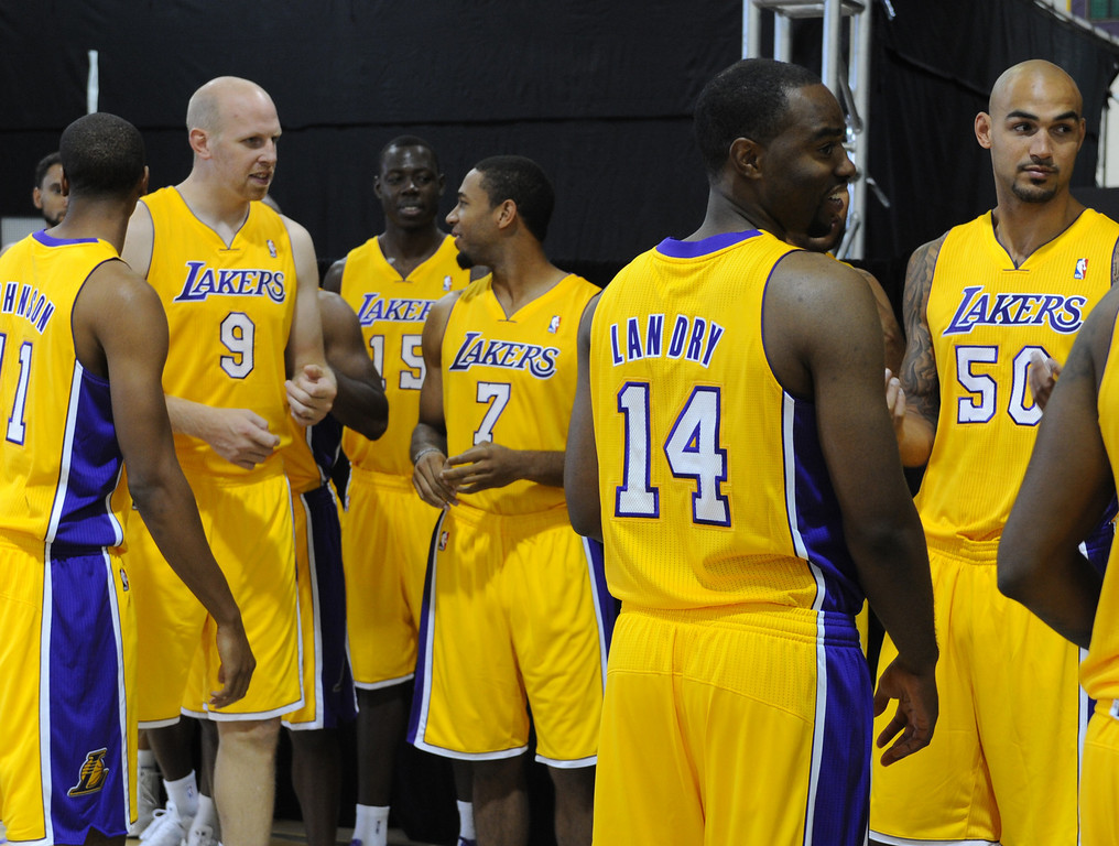 . Lakers enter the practice facility for media day. The Los Angeles Lakers held a media day at their El Segundo practice facility. Players were photographed for team materials, and interviewed by the press. El Segundo, CA. 9/27/2013. photo by (John McCoy/Los An8eles Daily News)