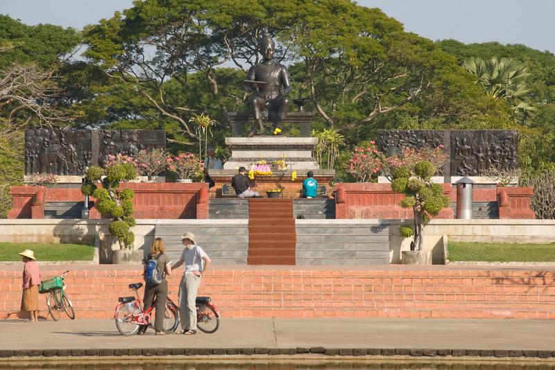 Park fronting the Monument of King Ramkhamhaeng the Great - Sukhothai, Thailand