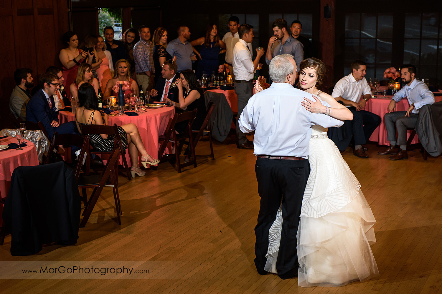 bride dancing with father during wedding reception at Saratoga Foothill Club