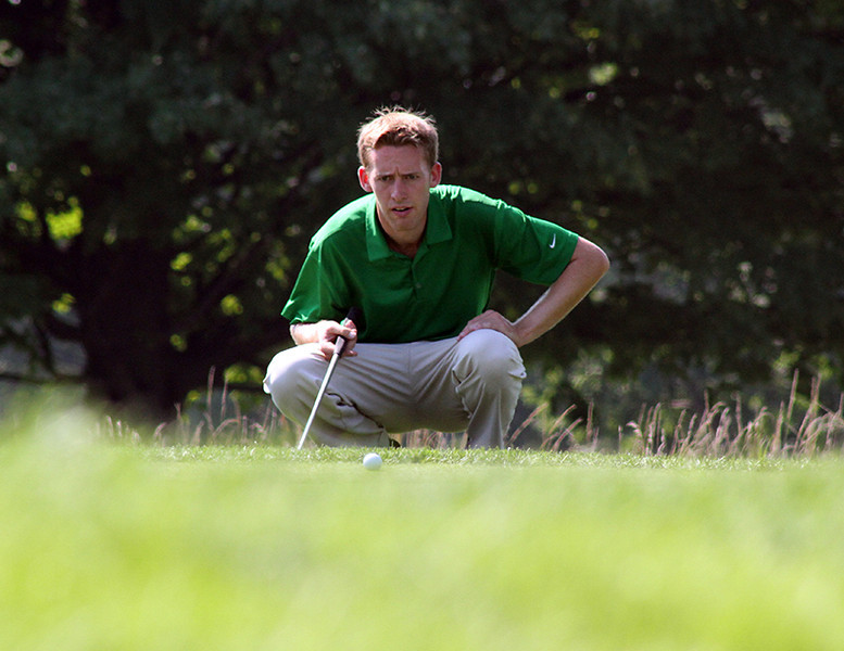 Peter Williamson of Hanover, NH carefully reads the green before one of his putts during his opening match at the 2012 Western Amateur Championship at Exmoor Country Club in Highland Park, IL on Friday, Aug. 3, 2012. (WGA Photo/Ian Yelton)