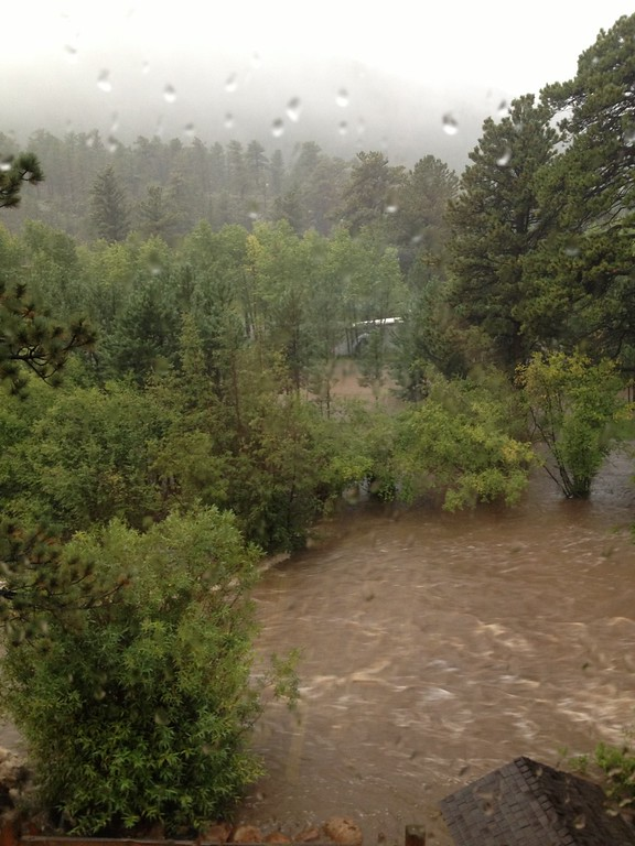 . Big Thompson River in Estes Park, Colorado before being evacuated. Photo by Calli Whitehouse