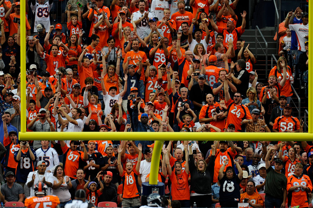 . Fans cheer after the Denver Broncos scored a touchdown during a preseason game between the Denver Broncos and the Seattle Seahawks at Sports Authority Field at Mile High on Thursday, August 07, 2014 in Denver, Colorado.  (Photo by Kent Nishimura/The Denver Post)