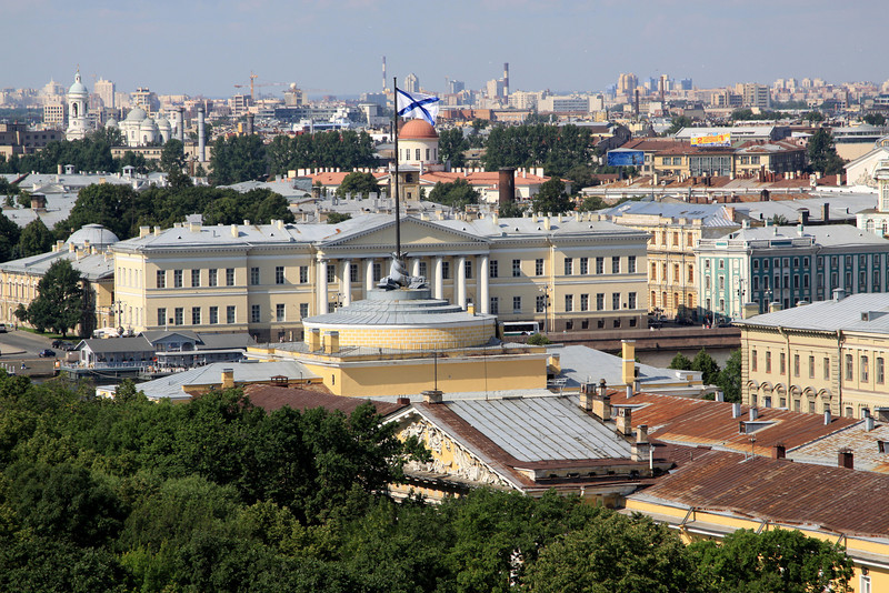 View from the Colonnade of St Isaac's Cathedral - Petersburg Academy of Sciences, on the banks of the Neva River.