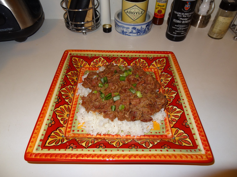 Louisiana red beans and rice with andouille sausage and smoked ham.