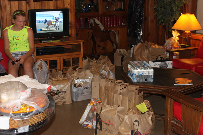 A very small portion of the 344 food kits that were collected for the Waukesha County Food Pantry. Photograph courtesy of Lisa Homa.