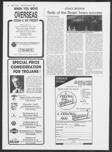 Daily Trojan, Vol. 98, No. 67, April 25, 1985