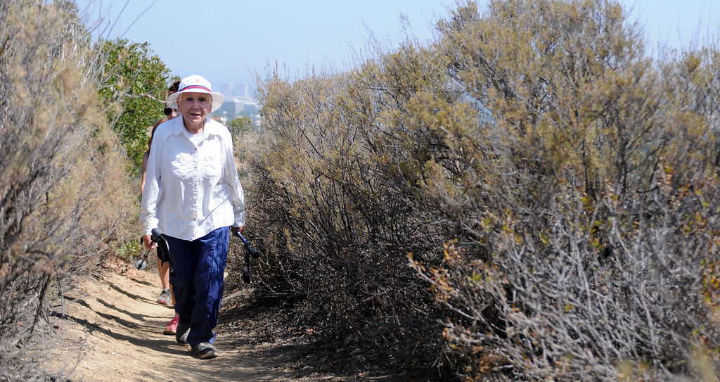 . Anne Bedrosian celebrated her 90th birthday with friends and family on a 2.5 mile hike at Serrania Park in Woodland Hills on Thursday, June 13, 2013.  (Dean Musgrove/Los Angeles Daily News)