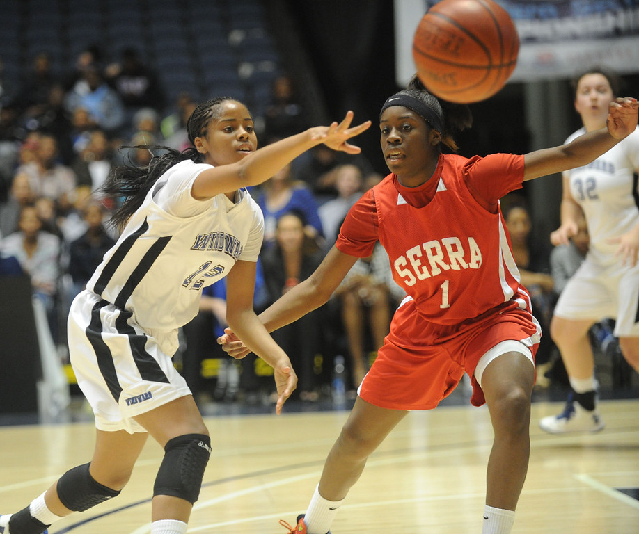 . 02-27-2012--(LANG Staff Photo by Sean Hiller)- Serra vs. Windward in Wednesday\'s girls basketball CIF SS Div. 4AA title game at the Anaheim Convention Center Arena in Anaheim. Serra\'s Nautica Morrow (1) battles for the ball with Windward\'s Jordin Canada (12).