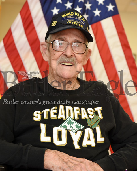 Harold Aughton/Butler Eagle: Elmer Glenn, 95, a resident of the Butler VA Community Living Center, served in the 4th infantry division of U.S. Army during WWII.