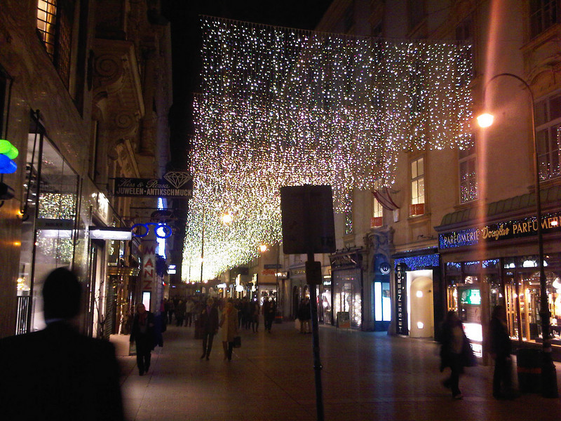 Street at night with Christmas lights