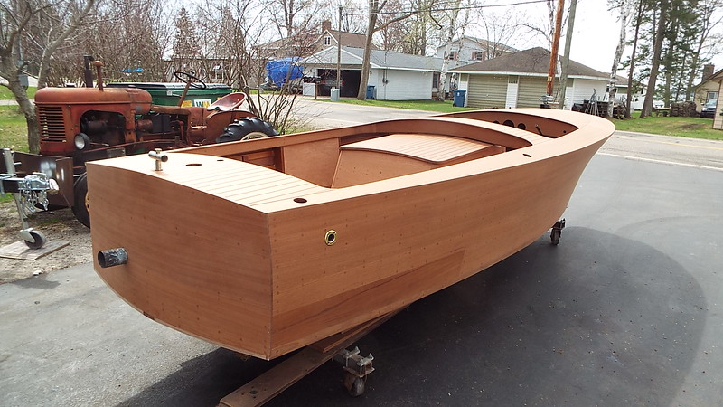 Rear starboard view of the hull outside. The off color plank is below the water line so it will be painted.