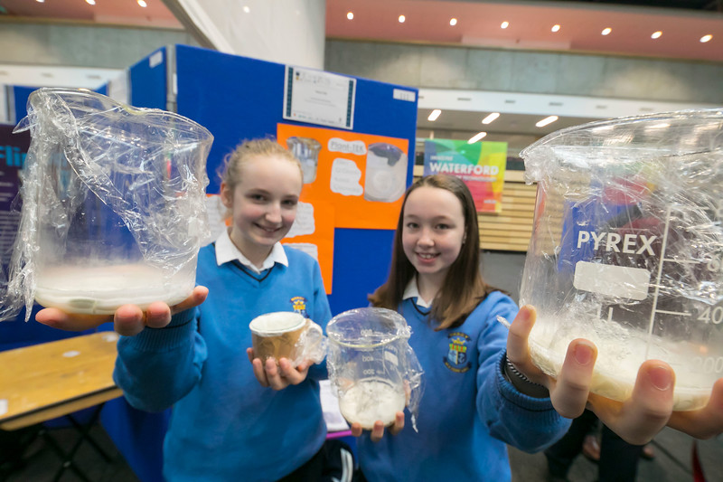 01/05/2018. SciFest at WIT (Waterford Institute of Technology) at the Arena. Pictured are Kasia Ossowska and Ellen O'Grady with their project Plant-TEX. Picture: Patrick Browne