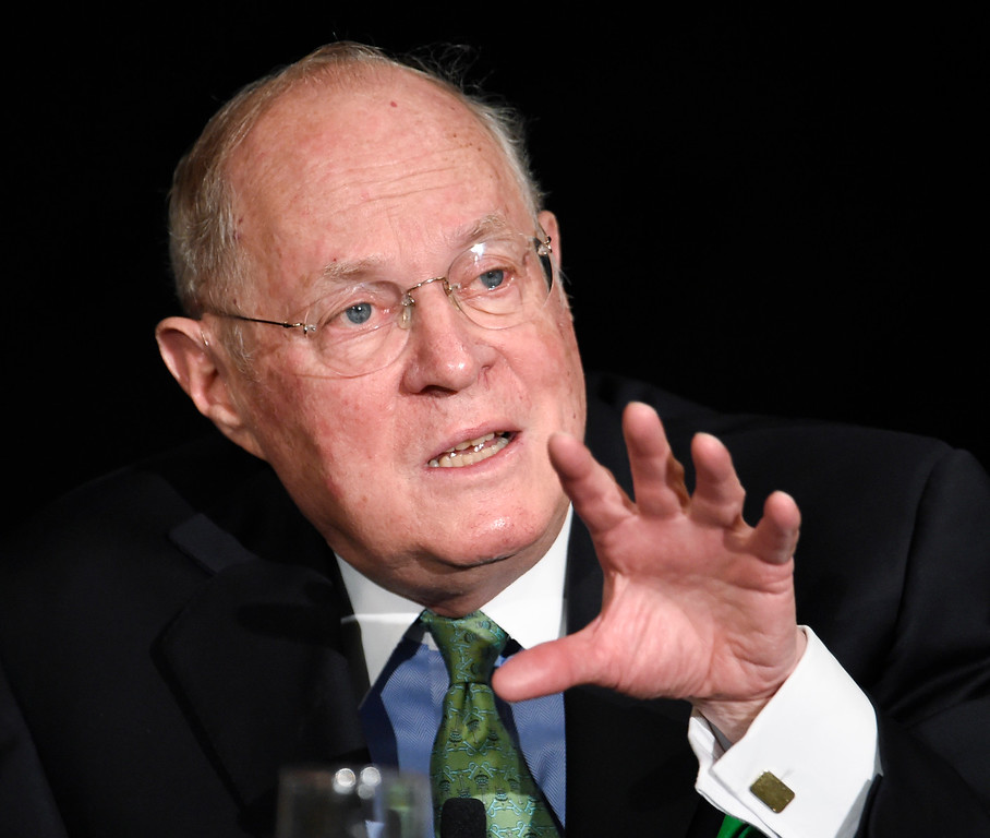 . FILE - In this July 15, 2015, file photo, Supreme Court Justice Anthony Kennedy speaks in San Diego. The Constitution says federal judges �shall hold their offices during good behaviour,� essentially as they long as they wish. The most talked-about idea has support among both liberals and conservatives. A single 18-year-term would replace lifetime tenure. Going forward, presidents would appoint a justice every two years, ensuring both continuity on the court and two picks for each presidential term.   (AP Photo/Denis Poroy, File)