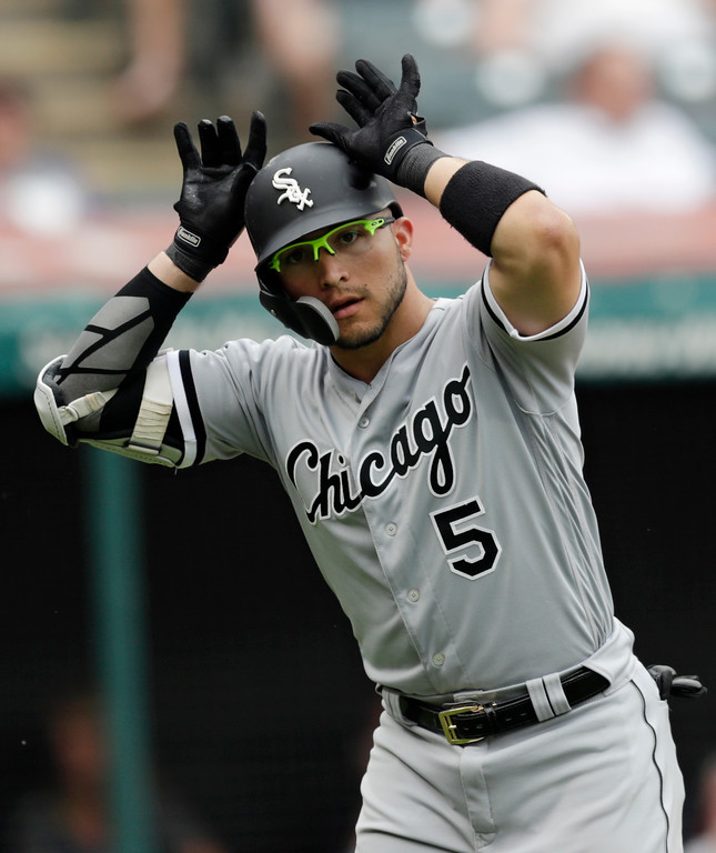 . Chicago White Sox\'s Yolmer Sanchez celebrates after hitting a solo home run off Cleveland Indians relief pitcher Ben Taylor in the ninth inning of a baseball game, Wednesday, May 30, 2018, in Cleveland. The Indians won 9-1. (AP Photo/Tony Dejak)