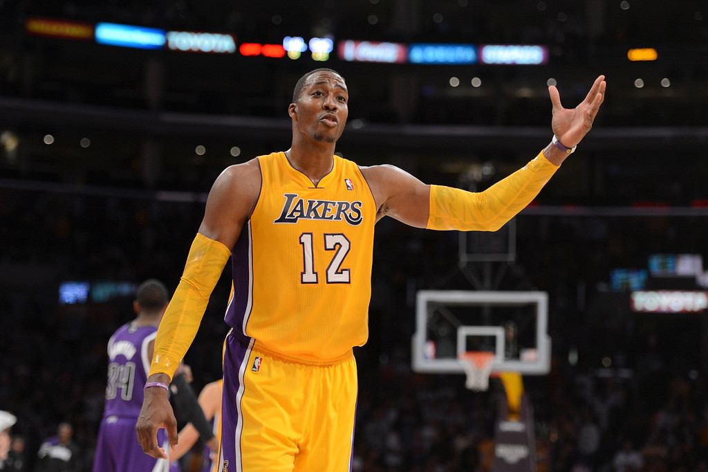 . Lakers\' Dwight Howard disputes a call as the clock winds down during second half action at Staples Center Sunday.  Lakers lost to the Kings 92-99.  (10/21/12) Photo by David Crane/Staff Photographer