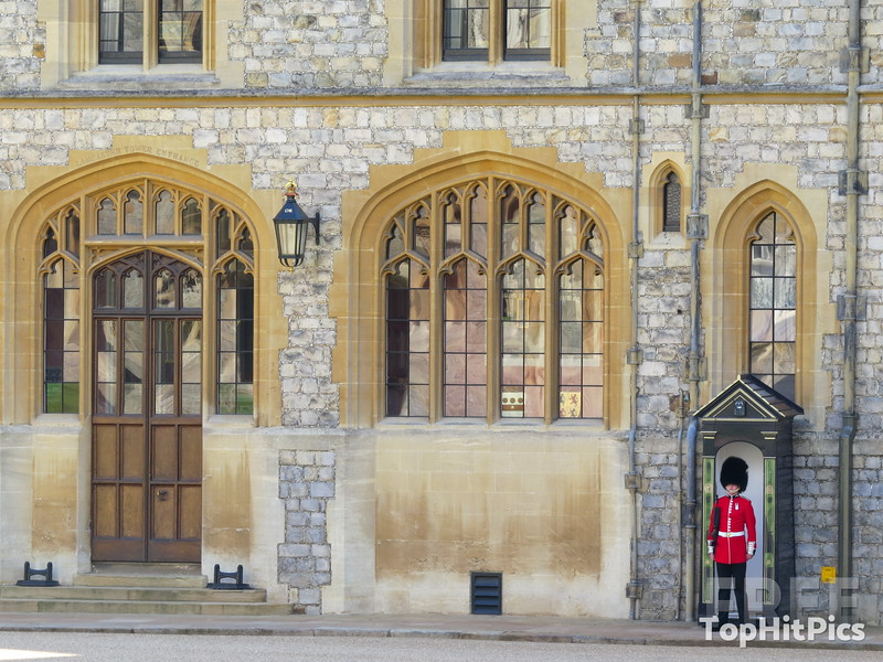A Queen's Guard at Windsor Castle in Windsor, Berkshire, England