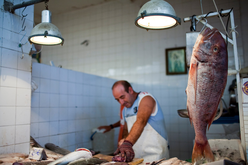 Fishmonger's stall in the market, town of Sanlucar de Barrameda, province of Cadiz, Andalusia, Spain.
