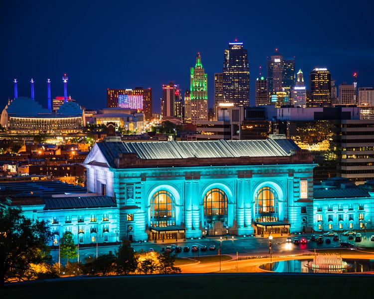 Kansas City at night. Kansas City, Missouri. April 2017.