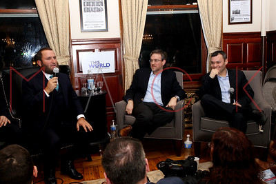 NEW YORK, NY - February 07:  A Discussion between Rabbi Shmuley Boteach, Bret Stephens & Peter Beinart at The World Values Network.
