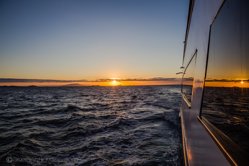 Ecuador Galapagos Cruise Ship at sunset