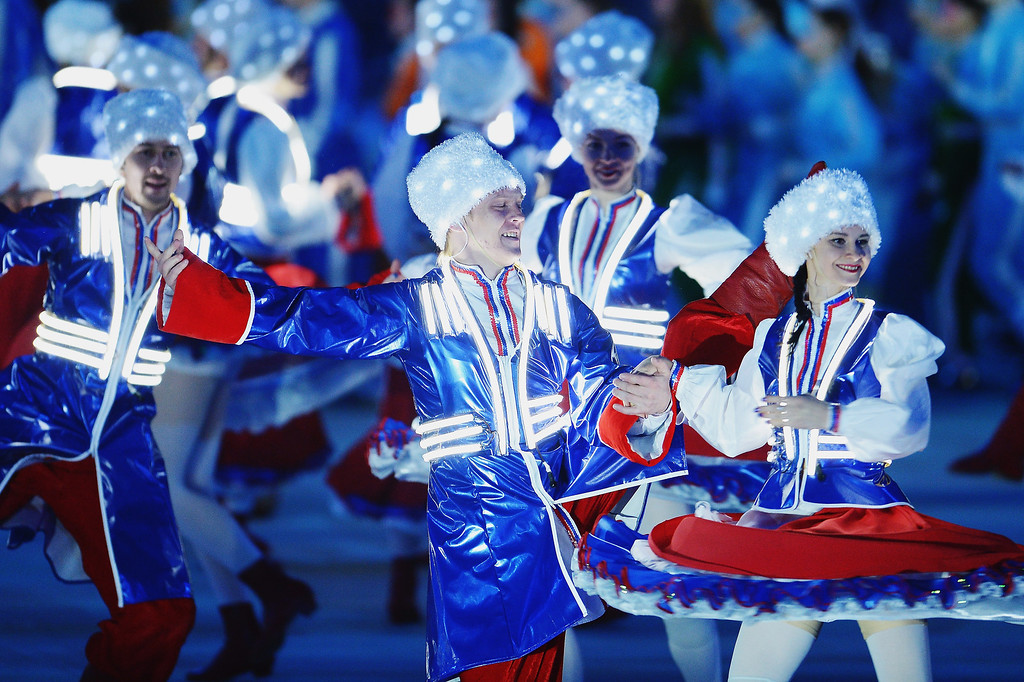 . Cossack dancers perform during the Sochi 2014 Paralympic Winter Games Closing Ceremony at Fisht Olympic Stadium on March 16, 2014 in Sochi, Russia.  (Photo by Dennis Grombkowski/Getty Images)