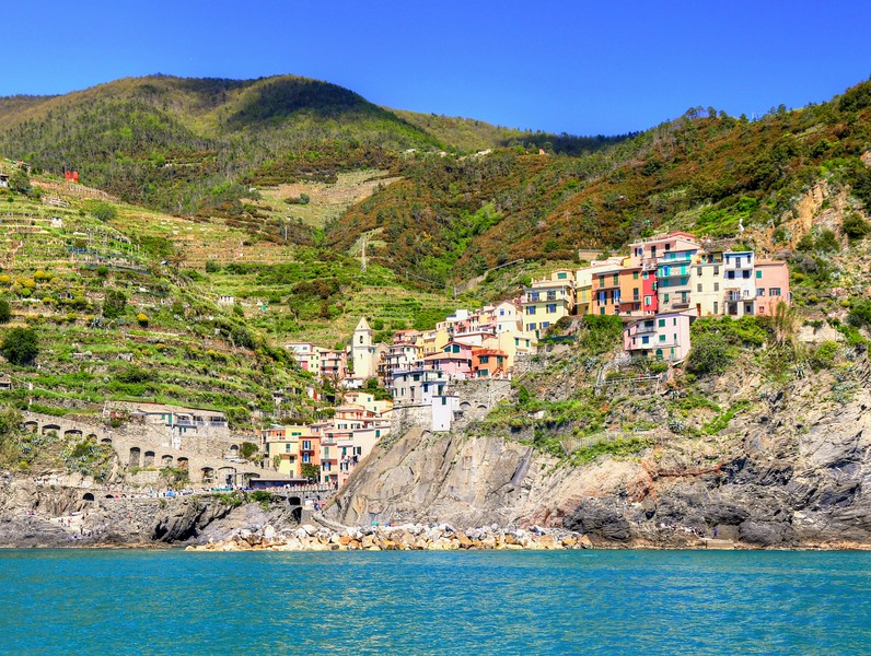 View of the town of Manarola from the ferry