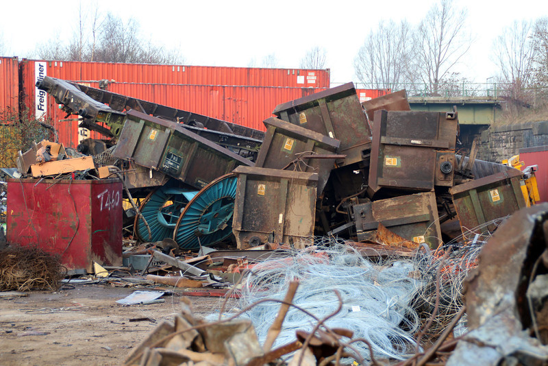Booths Scrap Yard with the remains of several PNAs and 1 underframe ex TTA 63894 on top 16/02/13.