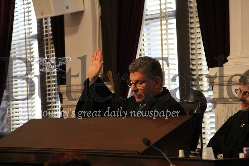 President Judge Thomas Doerr during Friday's swearing in ceremony of newly elected county officials. Photos by Eric Jankiewicz