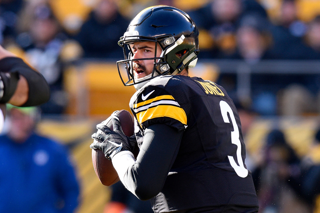 . Pittsburgh Steelers quarterback Landry Jones (3) looks to pass during the first half of an NFL football game against the Cleveland Browns in Pittsburgh, Sunday, Jan. 1, 2017. (AP Photo/Don Wright)
