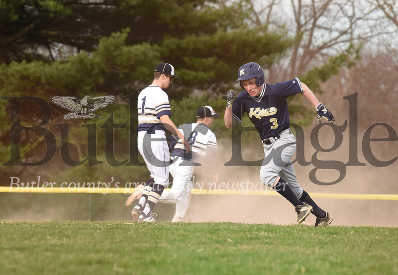Knoch second baseman Isaac Love capitalizes on a Freeport error in the 6th inning.(running to second base)