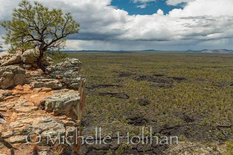 Looking down on the old lavaflows of El Malpais National Monument, New Mexico.