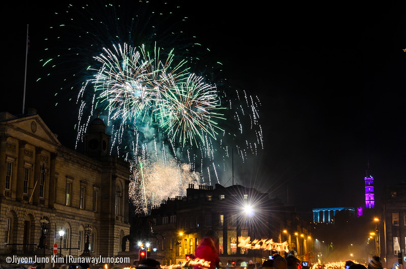 Grand finale of Edinburgh's Hogmanay Torchlight Procession 2014/15