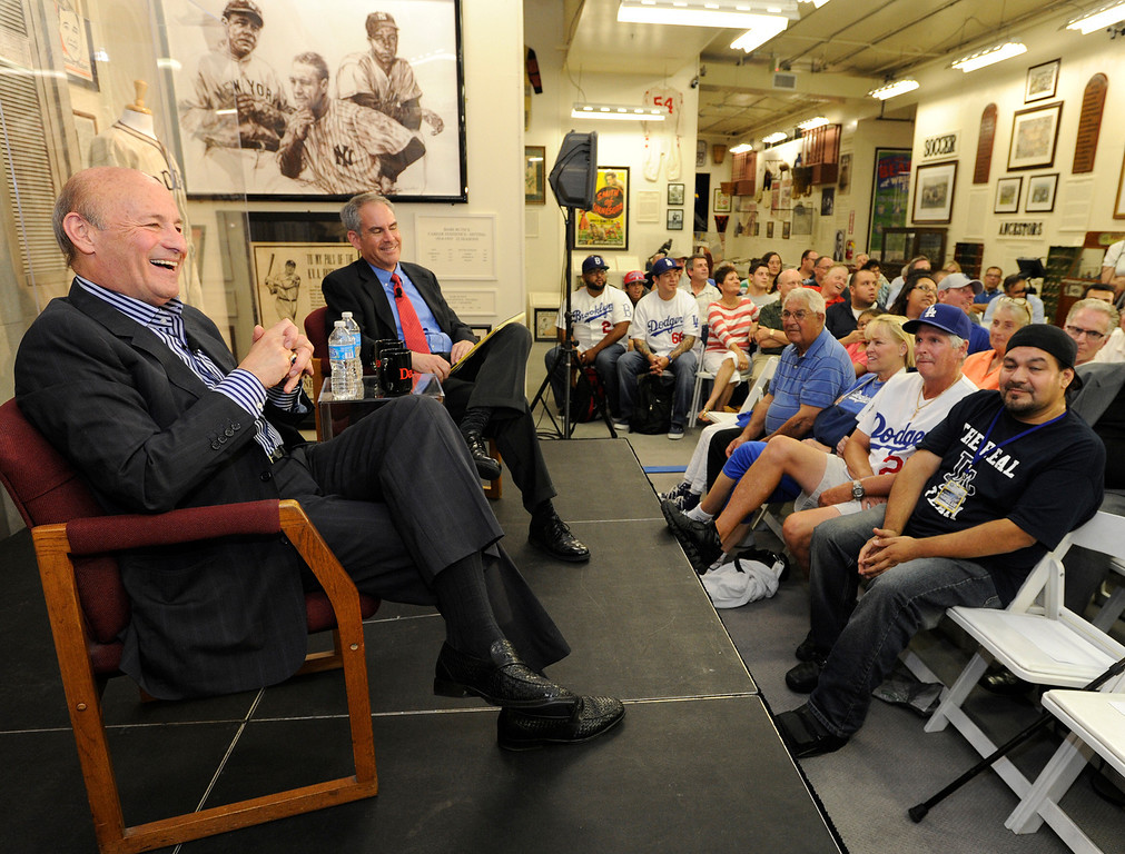. Dodgers President Stan Kasten discusses the state of the franchise, where it�s at, and where it�s heading in a program moderated by Daily News opinion writer and former sports columnist Kevin Modesti. The town hall style event was held at the Sports Museum of Los Angeles in Los Angeles, CA. 7/10/2013(John McCoy/LA Daily News)