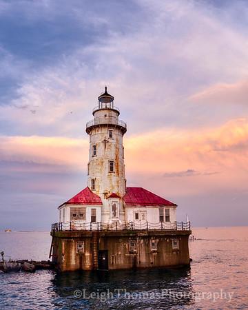 Chicago Harbor Lighthouse at Sunset