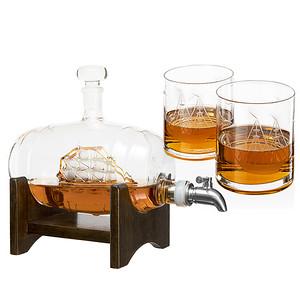 Whiskey Barrel Decanter w/glasses