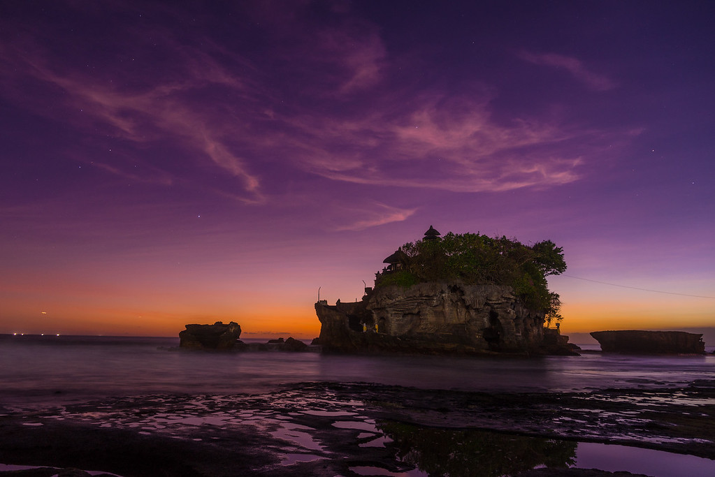 Stars start to shine after sunset at Tanah Lot Temple