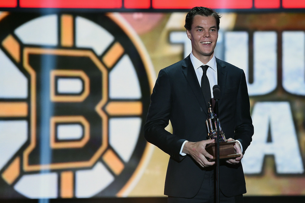 . Tuukka Rask of the Boston Bruins speaks after winning the Vezina Trophy during the 2014 NHL Awards at the Encore Theater at Wynn Las Vegas on June 24, 2014 in Las Vegas, Nevada.  (Photo by Ethan Miller/Getty Images)