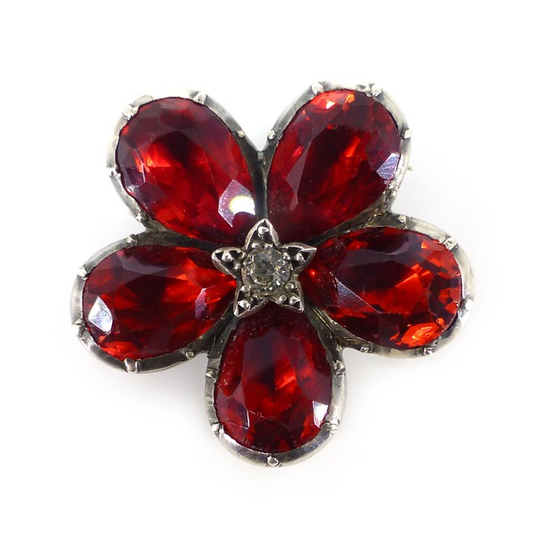 Antique Georgian Foiled Red Glass Pansy Star Brooch