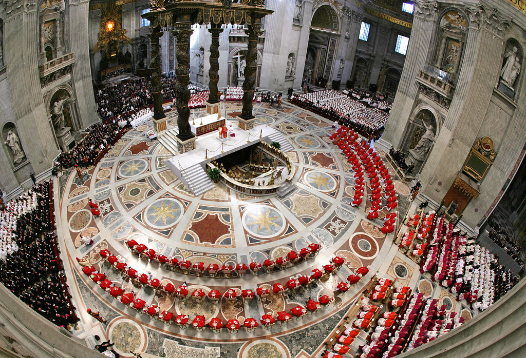 ". German Cardinal Joseph Ratzinger (C) presides over the special ""pro eligendo summo pontifice \"" (to elect Supreme Pontiff) mass at St Peter\'s Basilica in the Vatican City 18 April 2005. Roman Catholic cardinals began a special mass Monday to invoke God\'s guidance before they convene in secret later in the day to elect a successor pope to John Paul II. TONY GENTILE/AFP/Getty Images"
