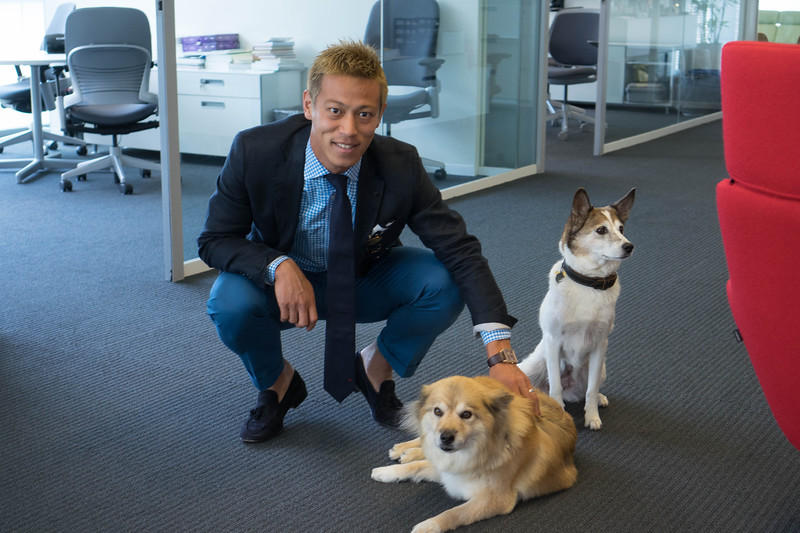 Keisuke Honda with Bo and Pookie