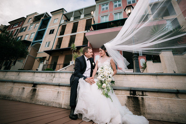 Bride and Groom at Emerald Lakes, The French Quarter, Carrara on the Gold Coast